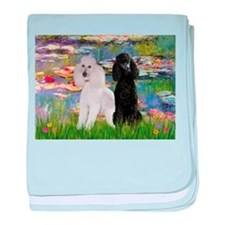 2 Poodles in Monet's Lilies baby blanket