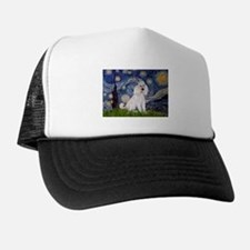 Starry Night White Poodle Trucker Hat