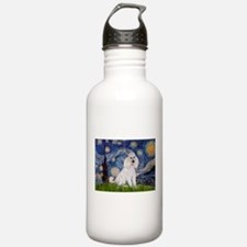 Starry Night White Poodle Water Bottle