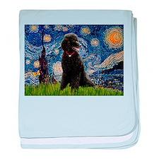 Starry Night Black Poodle baby blanket