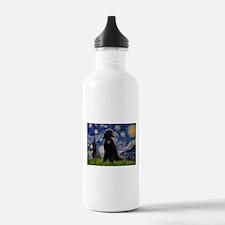 Starry Night Black Poodle Water Bottle