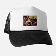 Santa's Black Pug Trucker Hat