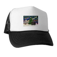Xmas Magic & 2 Black Pugs Trucker Hat