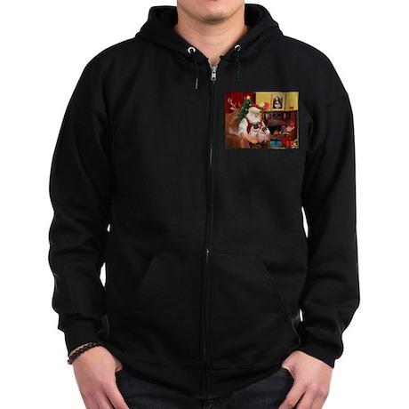 Santa's fawn Pug pair Zip Hoodie (dark)