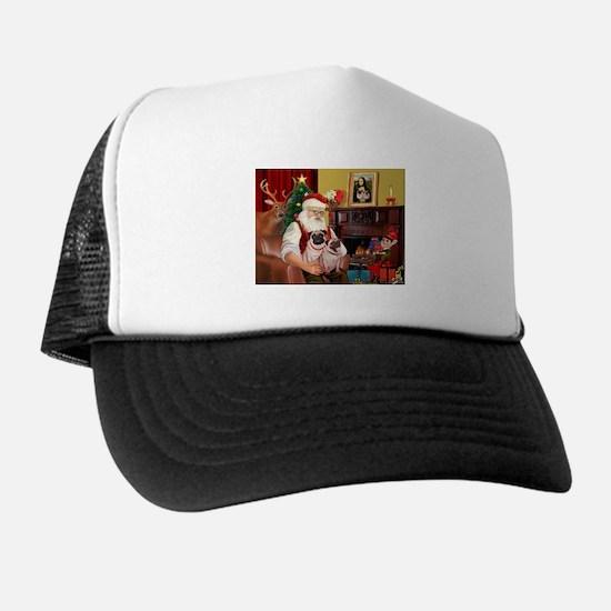 Santa's fawn Pug pair Trucker Hat
