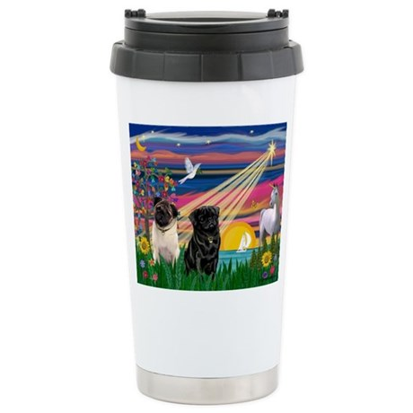 Pug Magical Night Stainless Steel Travel Mug