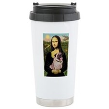 Mona Lisa Fawn Pug Travel Mug