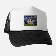 Starry Night & Pug Pair Trucker Hat