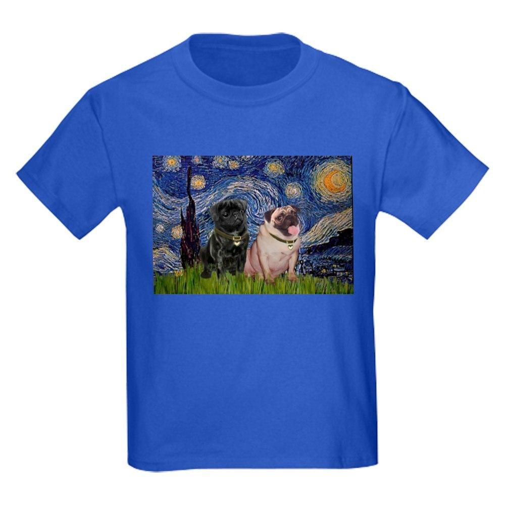 506669920 CafePress Starry Night /& Pug Pair Kids Dark T Shirt Kids T-Shirt