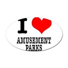 I Heart (Love) Amusement Park 38.5 x 24.5 Oval Wal