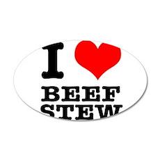 I Heart (Love) Beef Stew 22x14 Oval Wall Peel