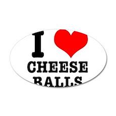 I Heart (Love) Cheese Balls 22x14 Oval Wall Peel
