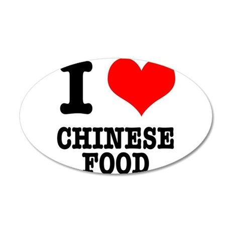 I Heart (Love) Chinese Food 22x14 Oval Wall Peel