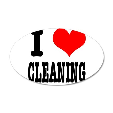 I Heart (Love) Cleaning 38.5 x 24.5 Oval Wall Peel