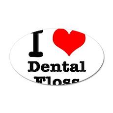 I Heart (Love) Dental Floss 22x14 Oval Wall Peel