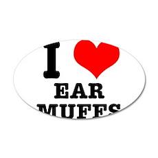 I Heart (Love) Ear Muffs 22x14 Oval Wall Peel