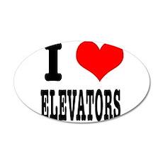 I Heart (Love) Elevators 38.5 x 24.5 Oval Wall Pee
