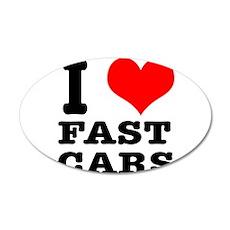 I Heart (Love) Fast Cars 38.5 x 24.5 Oval Wall Pee
