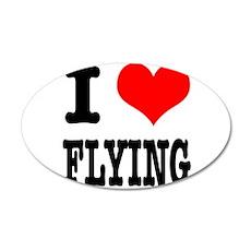 I Heart (Love) Flying 22x14 Oval Wall Peel
