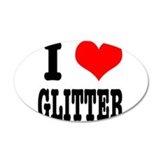 I Heart (Love) Glitter 22x14 Oval Wall Peel