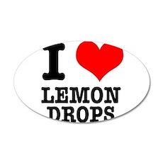 I Heart (Love) Lemon Drops 22x14 Oval Wall Peel