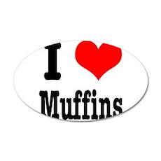 I Heart (Love) Muffins 22x14 Oval Wall Peel