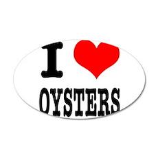 I Heart (Love) Oysters 22x14 Oval Wall Peel