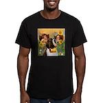Two Angels & Saint Bernard Men's Fitted T-Shir
