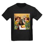 Two Angels & Saint Bernard Kids Dark T-Shirt