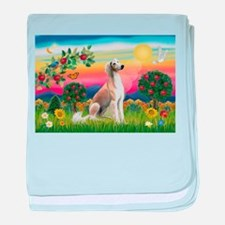 Bright Country with Saluki baby blanket