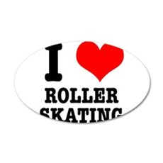 I Heart (Love) Roller Skating 22x14 Oval Wall Peel