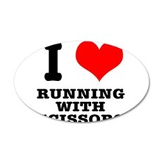 I Heart (Love) Running With S 22x14 Oval Wall Peel