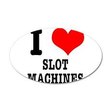 I Heart (Love) Slot Machines 38.5 x 24.5 Oval Wall
