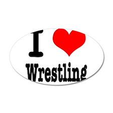 I Heart (Love) Wrestling 38.5 x 24.5 Oval Wall Pee