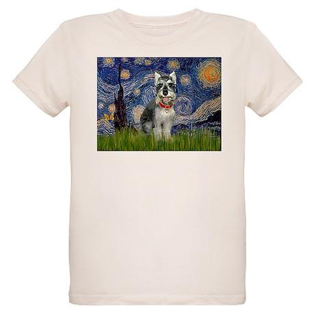 Starry Night & Schnauzer Organic Kids T-Shirt