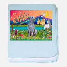 Deerhound in Fantasy Land baby blanket