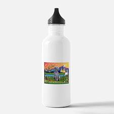Deerhound in Fantasy Land Water Bottle
