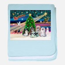 Xmas Magic / 5 Shih Tzus baby blanket