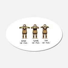 Hear No Evil Monkeys 22x14 Oval Wall Peel