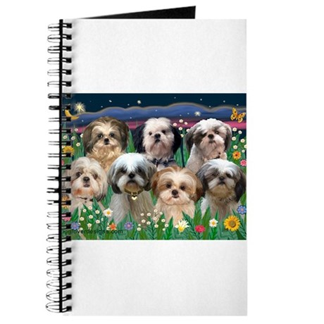 7 Shih Tzus in Moonlight Journal