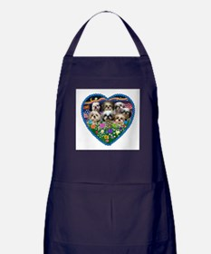 Shih Tzus in Heart Garden Apron (dark)