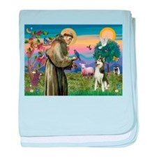 Saint Francis & Husky (red si baby blanket