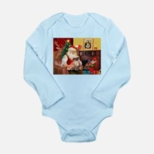 Santa's Tibetan Spaniel Long Sleeve Infant Bodysui