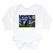 Starry Night Weimaraner Long Sleeve Infant Bodysui
