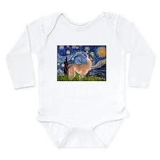 Starry Night Llama Long Sleeve Infant Bodysuit