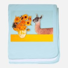 Sunflowers & Llama baby blanket