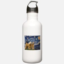 Starry Night & 2 Wheatens Water Bottle