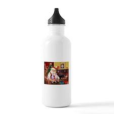 Santas Whippet pair Water Bottle