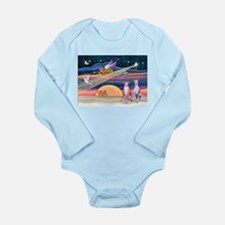 Xmas Star/2 Whippets Long Sleeve Infant Bodysuit
