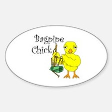 Bagpipe Chick Text Sticker (Oval 10 pk)